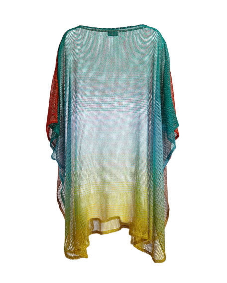 Ombré Open-Knit Coverup, Green/Yellow/orange