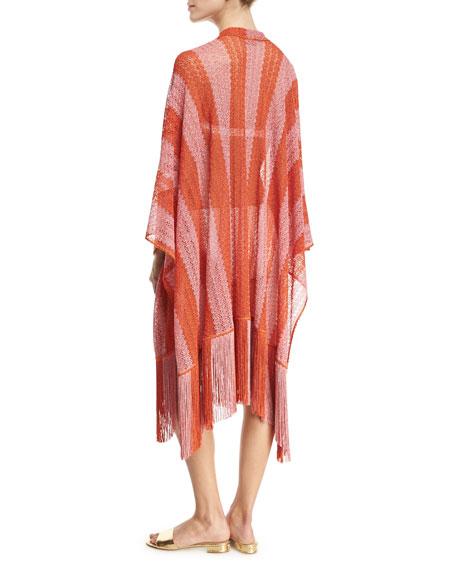 Zigzag-Stripe Long Coverup with Fringe, Red-Orange/Pink