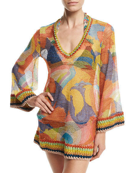 Missoni Mare Paisley Bell-Sleeve Tunic Coverup