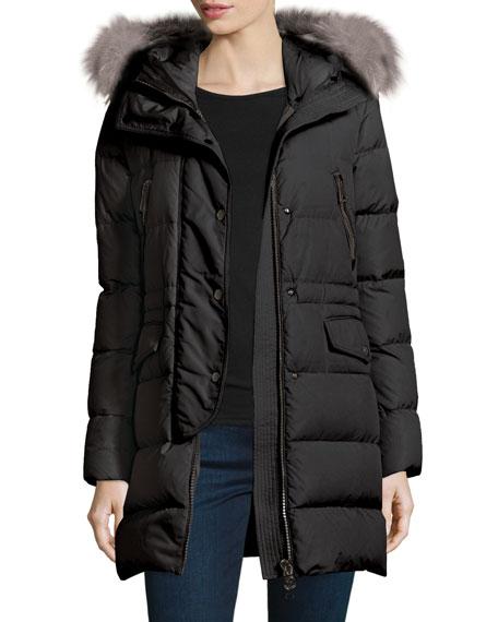 Moncler Fragonette Quilted Puffer Coat w/Detachable Fur Hood,