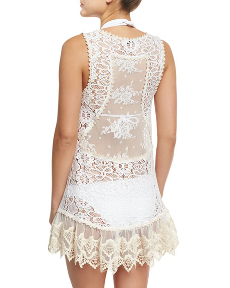 Juno Crocheted Lace Short Coverup Dress, White
