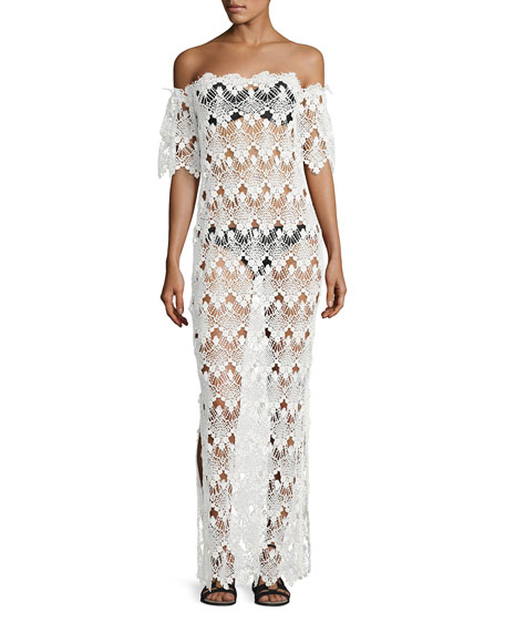 Queen & Pawn Flora Scalloped Lace Off-the-Shoulder Maxi