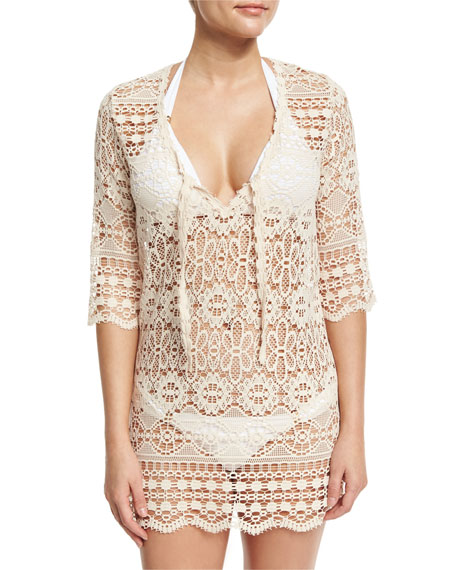 Queen & Pawn Juno Crocheted Lace V-Neck Coverup
