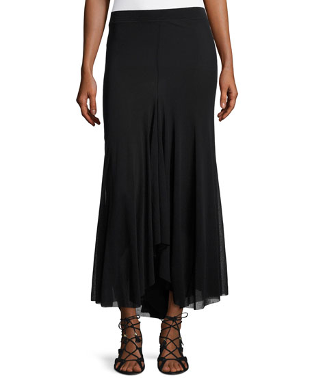 Fuzzi A-Line Tulle Maxi Skirt, Black