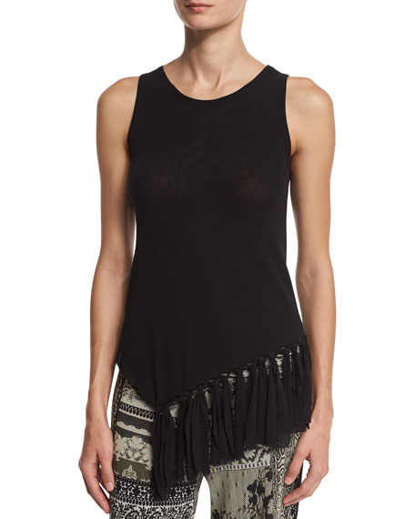 Fuzzi Sleeveless Fringe-Hem Tulle Top, Black