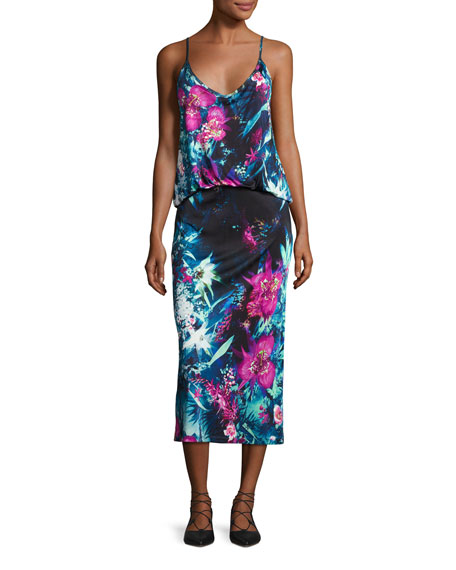 Sleeveless Tropical Floral-Print Midi Dress, Multi