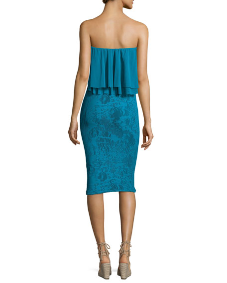 Ruffled Off-the-Shoulder Stretch-Lace Sheath Dress, Turquoise