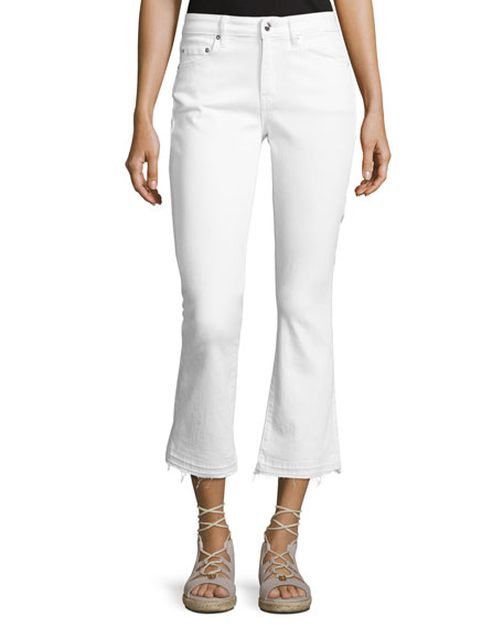 Gia Mid-Rise Cropped Flare Jeans with Released Hem, White