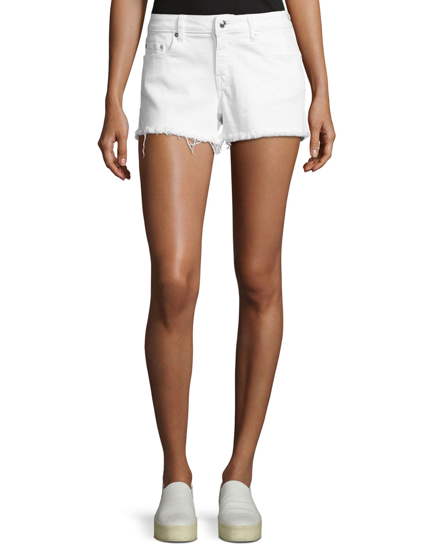 Quick Look. Derek Lam 10 Crosby · Quinn Mid-Rise Slim Girlfriend Jean  Cutoff Shorts ...