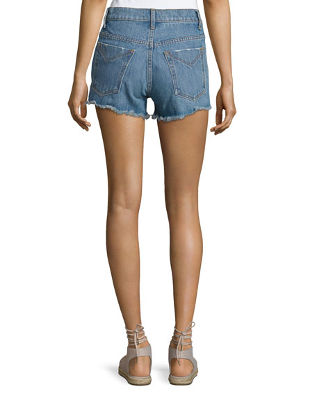 Drew High-Rise Classic Vintage Jean Cutoff Shorts, Light Blue