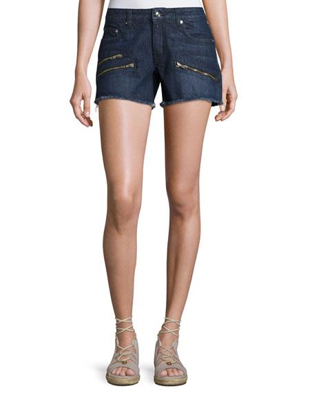 Quinn Mid-Rise Slim Girlfriend Jean Cutoff Shorts, Indigo