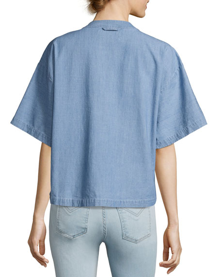 Image 2 of 2: Collarless Boxy Chambray Top, Light Blue