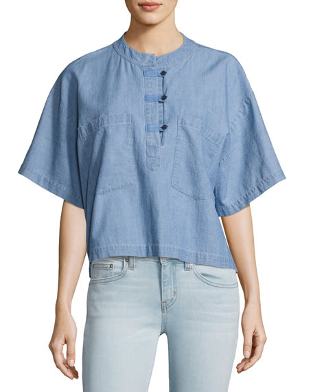 Image 1 of 2: Collarless Boxy Chambray Top, Light Blue