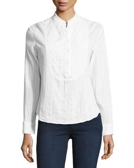 Gauze Tuxedo Shirt, White