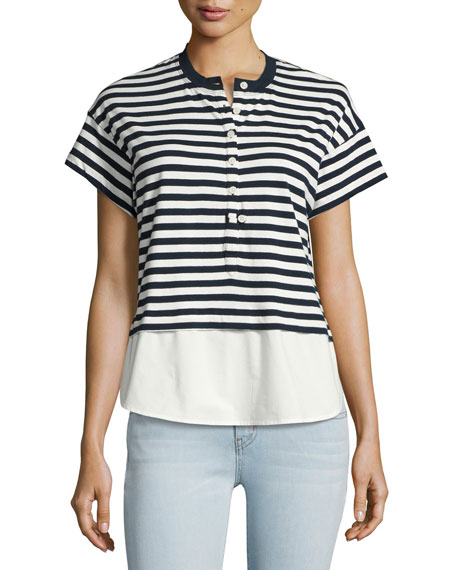 Derek Lam 10 Crosby Henley Striped Shirt Combo