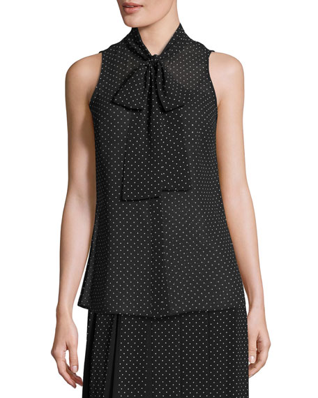 Sleeveless Tie-Neck Polka-Dot Blouse, Black