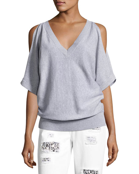 V-Neck Cold-Shoulder Blouson Sweater, Gray