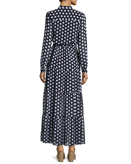 Lottie Long-Sleeve Polka-Dot Tiered Maxi Dress, Black