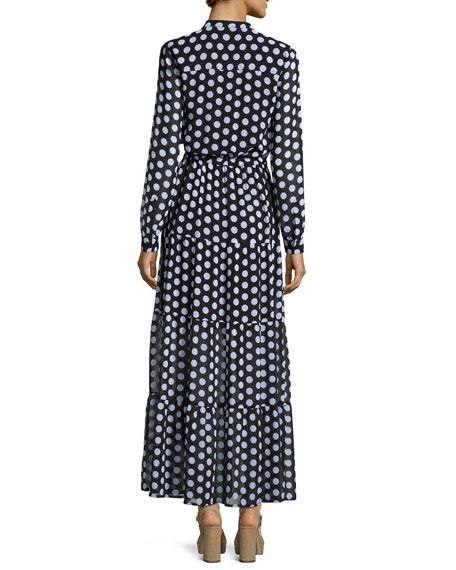 Lottie Long-Sleeve Polka-Dot Tiered Maxi Dress, Black