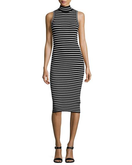 MICHAEL Michael Kors Mock-Neck Striped Ribbed-Knit Dress, Black