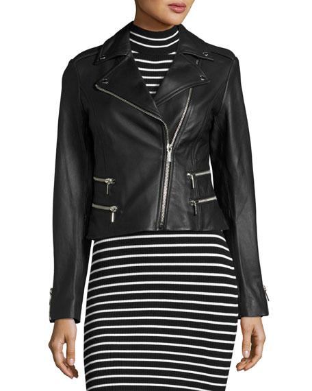 Four-Pocket Leather Biker Jacket, Black