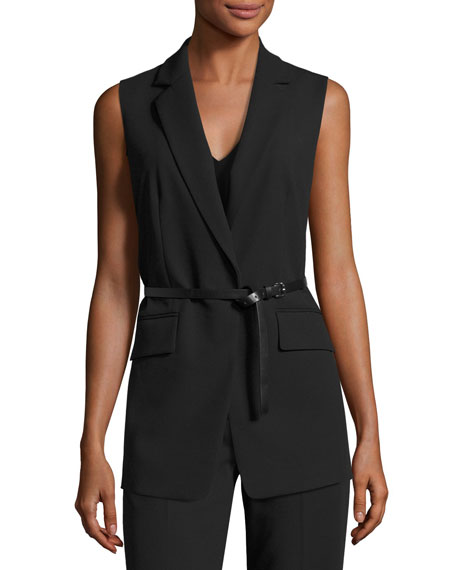 MICHAEL Michael Kors Notched-Collar Vest w/ Long Skinny