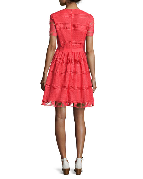 Short-Sleeve Graphic Striped Eyelet Dress, Pink