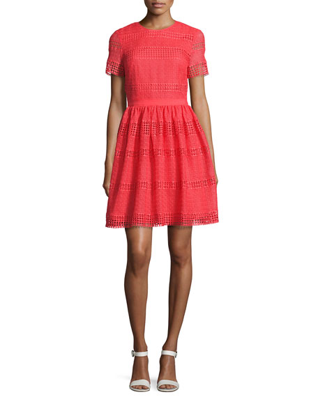 MICHAEL Michael Kors Short-Sleeve Graphic Striped Eyelet Dress,