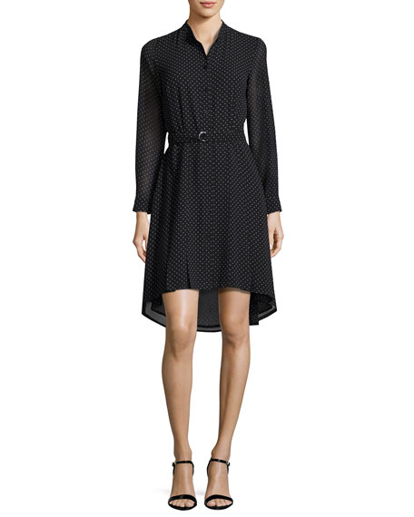 Long-Sleeve Polka-Dot High-Low Dress, Black