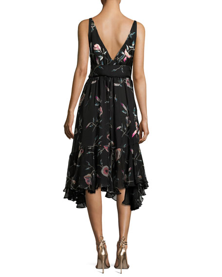Pressed Flower-Print Ruffled Silk Chiffon Dress, Black