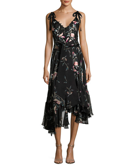 Josie Natori Pressed Flower-Print Ruffled Silk Chiffon Dress,