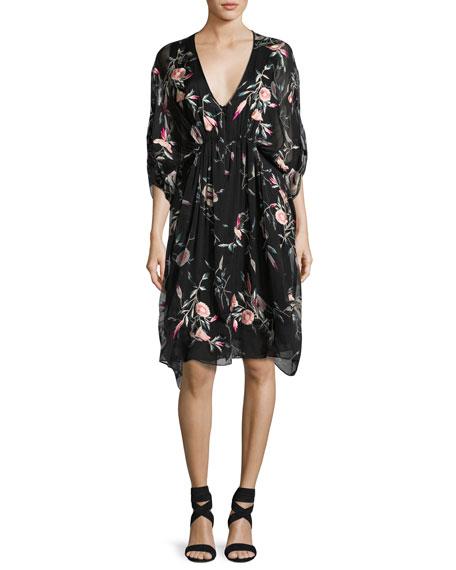 Josie Natori Embroidered Floral-Print Silk Caftan Dress, Black