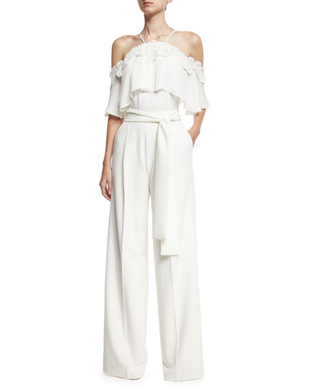 Josie Natori Cape-Top Wide-Leg Jumpsuit w/ Floral Appliqué