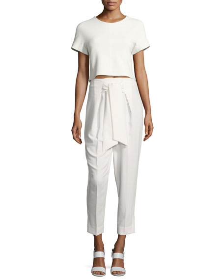 Tie-Front Straight-Leg Cropped Pants, White