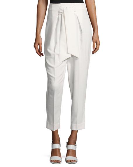 Josie Natori Tie-Front Straight-Leg Cropped Pants, White