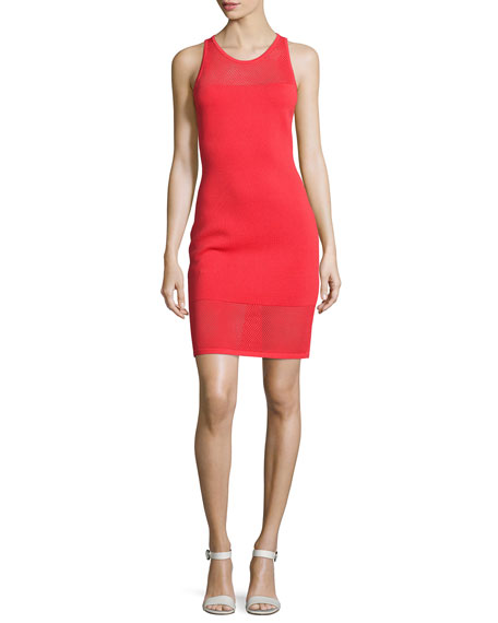 MICHAEL Michael Kors Mesh-Trim Sleeveless Sweater Dress, Coral