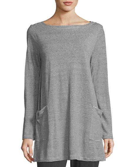 Organic Linen Jersey Mini-Striped Tunic w/ Pockets, Petite