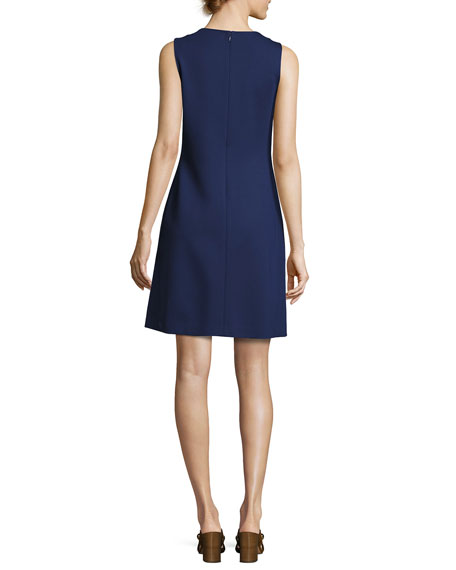 Brynn Sleeveless Ponte Dress, Navy