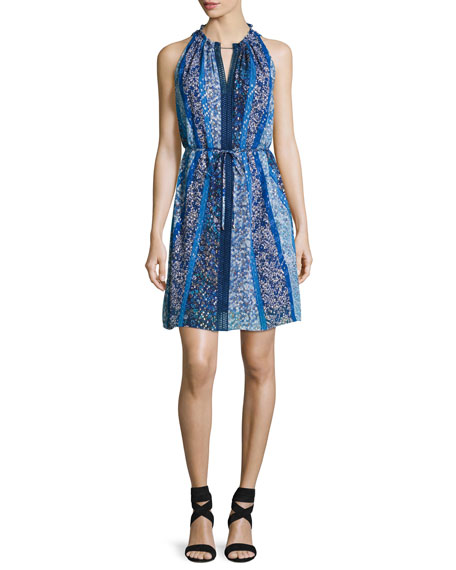 Elie Tahari Lenora Sleeveless Floral-Print Dress, Blue