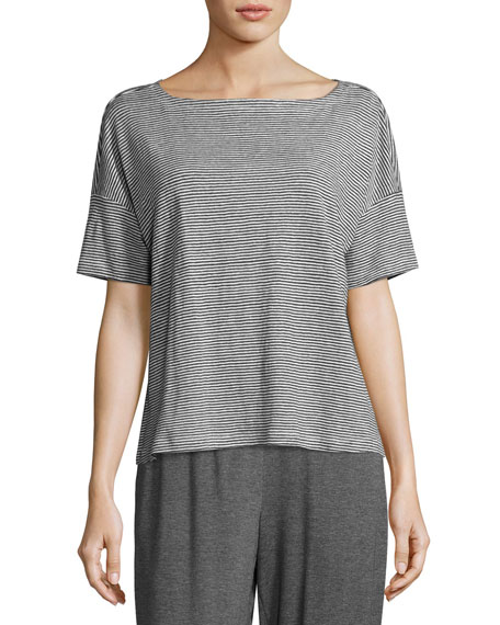 Eileen Fisher Short-Sleeve Linen Jersey Mini-Stripe Top