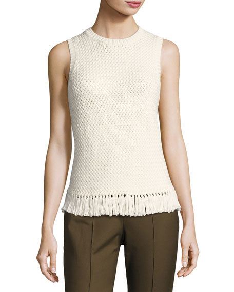 Theory Meenara Crosshatched Knit Tank Sweater, White