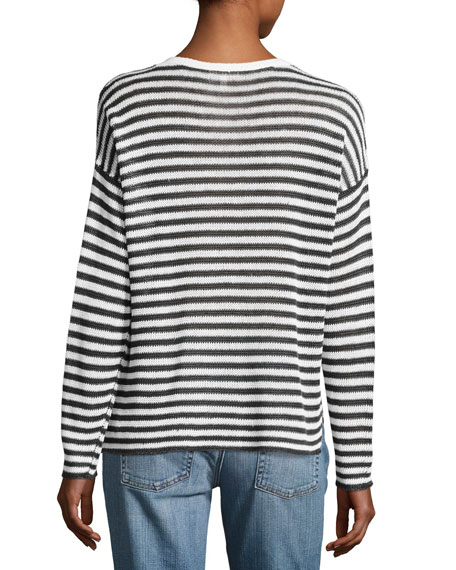 Organic Linen Striped V-Neck Box Top