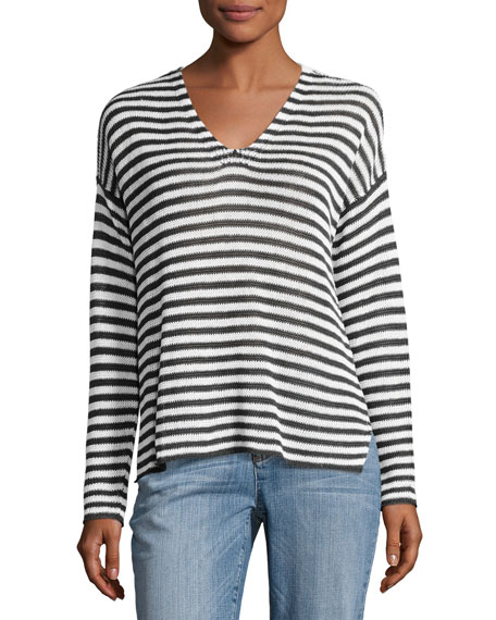 Eileen Fisher Organic Linen Striped V-Neck Box Top