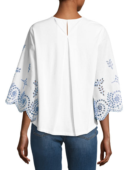 Mariana Broderie Anglaise Top, White/Blue