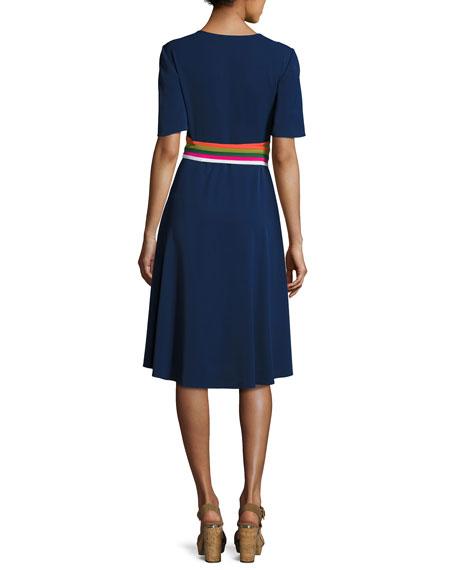 Tory Burch Peggy Wrap Dress W Striped Trim Navy Neiman