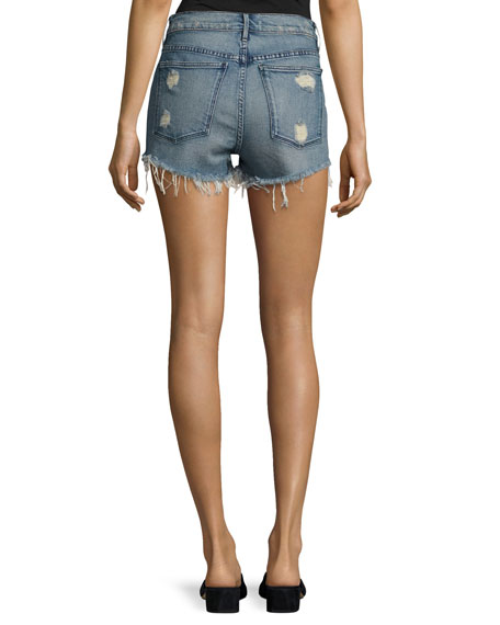 Shelter Denim Cutoff Shorts, Blue