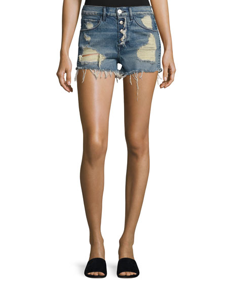 3x1 Shelter Denim Cutoff Shorts, Blue