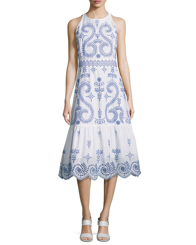Mariana Sleeveless Embroidered Cotton Midi Dress White Blue