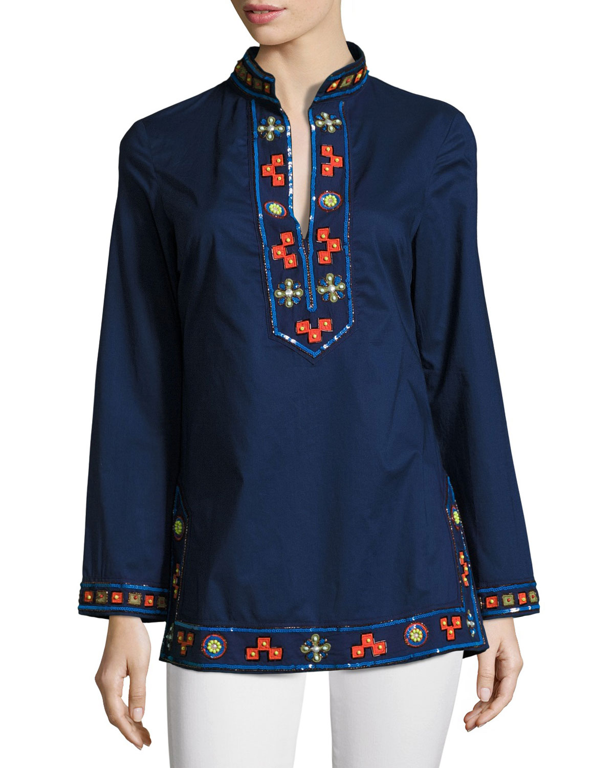 a7230bed29f Tory Burch Long-Sleeve Embellished Tory Tunic, Navy | Neiman Marcus