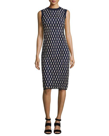 Tory Burch Carolina Sleeveless Knit Sheath Dress, Navy